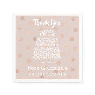 Wedding Themed Bridal Shower Rose Gold Confetti Wedding Cake Paper Napkin