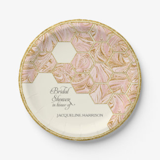 Bridal Shower Rose Gold Glitter Marble Hexagonal Paper Plate
