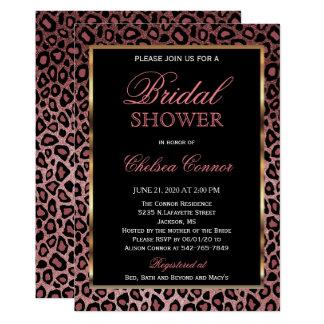 Bridal Shower - Rose Gold Leopard Pattern Card
