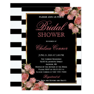 Bridal Shower - Rose Gold Wedding Black & White Card