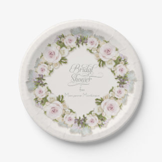Bridal Shower Roses Succulent Leaves w Polka Dots Paper Plate