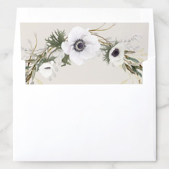 Bridal Shower Rustic Anemone Twig Fern Eucalyptus Envelope Liner