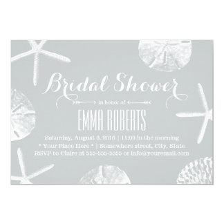 Bridal Shower Rustic Silver Beach Seashells Card