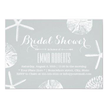 Beach Themed Bridal Shower Rustic Silver Beach Seashells Card