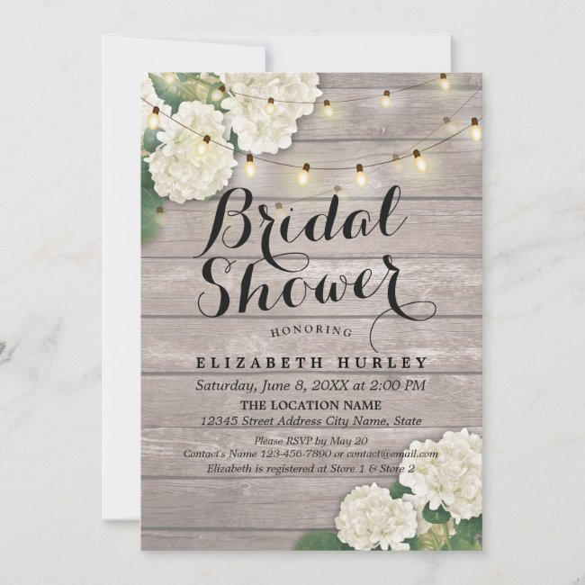 Bridal Shower Rustic Wood Hydrangea Flowers Lights Invitation