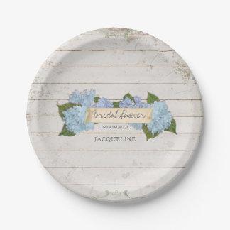 Bridal Shower Shiplap Wood Vintage Blue Hydrangea Paper Plate
