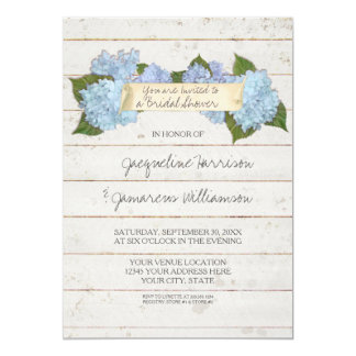 Bridal Shower Shiplap Wooden Board Blue Hydrangea Card