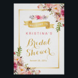 "Bridal Shower Sign Elegant Chic Floral Gold Frame<br><div class=""desc"">================= ABOUT THIS DESIGN ================= Bridal Shower Sign Elegant Chic Floral Gold Frame Poster Template. (1) The default size is A4 (8.27 &#215; 11.69 inches), you can change it to any size. (2) If you need any customization or matching items, please feel free to contact me. (3) You can find...</div>"