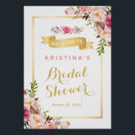"Bridal Shower Sign Elegant Chic Floral Gold Frame<br><div class=""desc"">Bridal Shower Sign Elegant Chic Floral Gold Frame Poster Template. (1) The default size is A4 (8.27 &#215; 11.69 inches), you can change it to any size. (2) For further customization, please click the &quot;customize further&quot; link and use our design tool to modify this template. (3) If you need help...</div>"