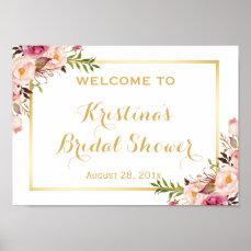 Bridal Shower Sign Elegant Chic Floral Gold Frame