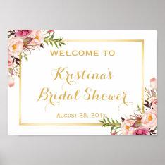Bridal Shower Sign Elegant Chic Floral Gold Frame at Zazzle
