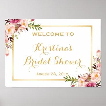 CardHunter Bridal Shower Sign Elegant Chic Floral Gold Frame