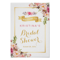 Bridal Shower Sign Elegant Chic Floral Gold Frame Poster
