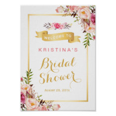 Bridal Shower Sign Elegant Chic Floral Gold Frame Poster at Zazzle