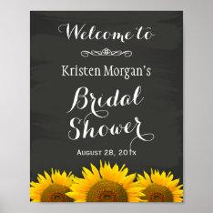 Bridal Shower Sign Elegant Sunflowers Chalkboard at Zazzle