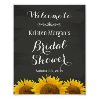 Bridal Shower Sign Elegant Sunflowers Chalkboard