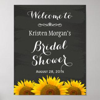 Bridal Shower Sign Elegant Sunflowers Chalkboard Poster