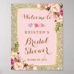 Bridal Shower Sign Gold Glitter Blush Pink Floral