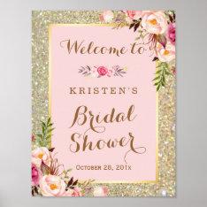 Bridal Shower Sign Gold Glitter Blush Pink Floral at Zazzle