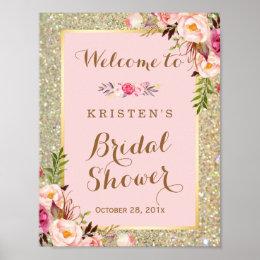 Bridal shower posters bridal shower prints bridal shower sign gold glitter blush pink floral stopboris Images