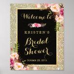 Bridal Shower Sign Gold Glitter Sparkles Floral