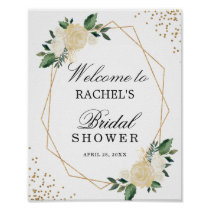 Bridal Shower Sign Greenery Gold Glitters Floral