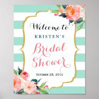 Bridal Shower Sign Modern Floral Mint Green Stripe Poster