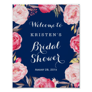 Bridal Shower Sign Modern Navy Blue Floral Wreath