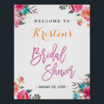 "Bridal Shower Sign | Modern Watercolor Floral<br><div class=""desc"">================= ABOUT THIS DESIGN ================= Modern Watercolor Floral Bridal Shower Sign Poster. (1) The default size is 8 x 10 inches, you can change it to any size. (2) For further customization, please click the &quot;Customize&quot; button and use our design tool to modify this template. (3) If you need help...</div>"