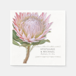 Bridal Shower Simple Modern Floral Pink Protea Paper Napkin