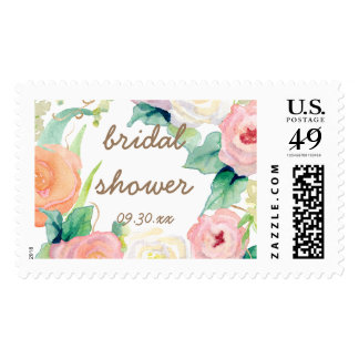 Bridal Shower Simple Modern Watercolor Floral Postage