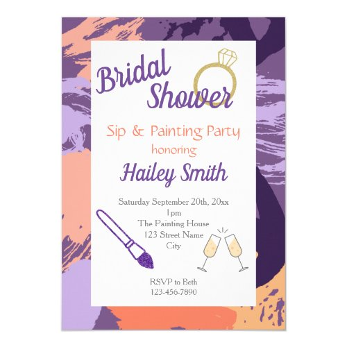 Bridal Shower Sip and Painting Party Invitation
