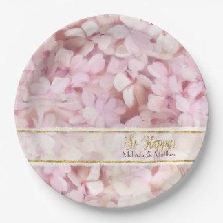 Bridal Shower Softly Summer Pink Hydrangea Glitter Paper Plate