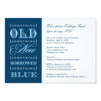Bridal Shower | Something Old New Borrowed Blue 5x7 Paper Invitation Card