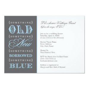 Bridal Shower | Something Old New Borrowed Blue Custom Announcements