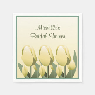 Bridal Shower Spring Yellow Tulip Cocktail Paper Napkin