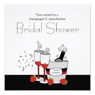 """Bridal Shower Square Champagne Invitation 5.25"""" Square Invitation Card"""