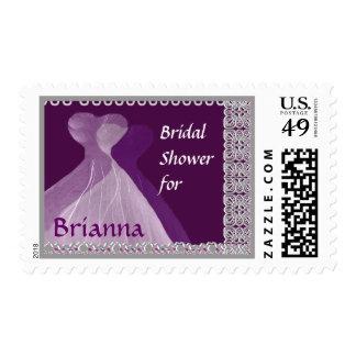 Bridal Shower Stamp PURPLE Dresses
