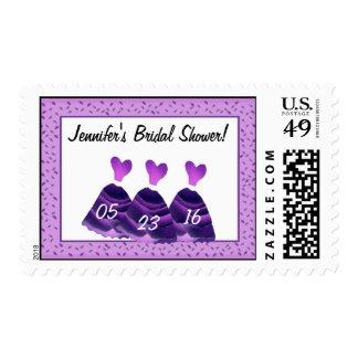 Bridal Shower Stamp - PURPLE Heart Dresses