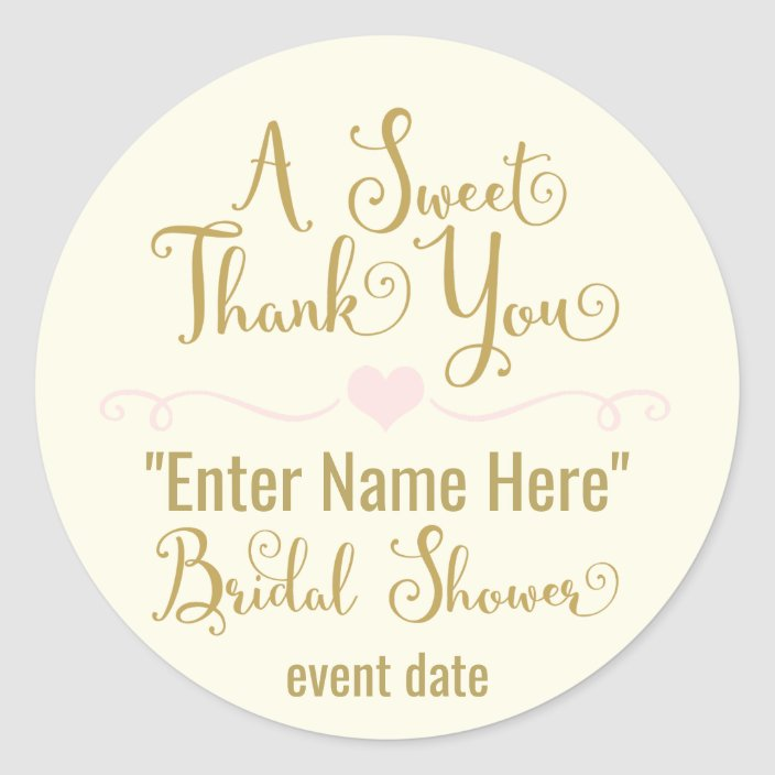 Bridal Shower Sticker A Sweet Thank You Zazzle Com