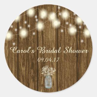 Bridal Shower Sticker, Rustic Sticker, Rustic Classic Round Sticker