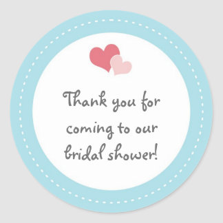 Bridal Shower Stickers - Double Heart Blue