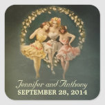 bridal shower stickers with vintage girls