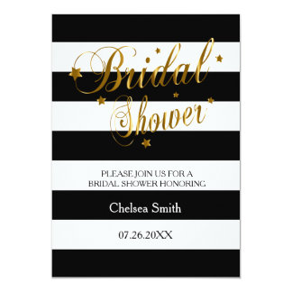 Bridal Shower - Stripes With Gold Lettering Card