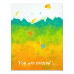 Bridal shower Summer Love unique whimsical art 4.25x5.5 Paper Invitation Card