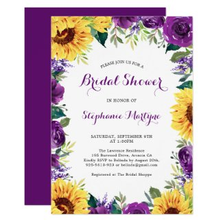 Bridal Shower Sunflower Purple Floral Border Invitation