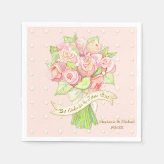 Bridal Shower Table Decor Watercolor Rose Bouquet Napkin