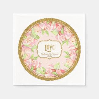 Bridal Shower Table Decor Watercolor Rose Bouquet Paper Napkin