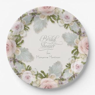 Bridal Shower Tea Decor Pink Rose w Succulent Leaf Paper Plate