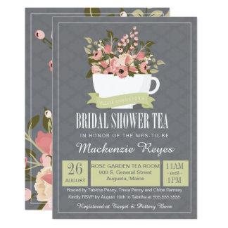 Bridal Shower Tea Invitation, Sage Green & Pink Card